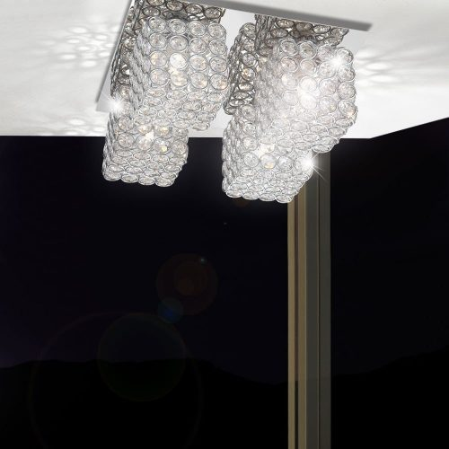 Ceiling lamp light chrome dining table living room lighting crystals Globo 56640-4D-electricidad-aranda-lamparas-almeria-
