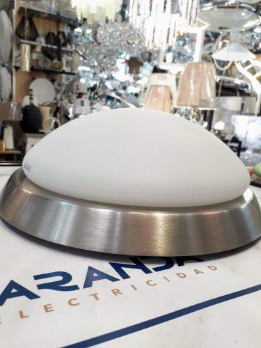 Plafón Ixa Ip44 en niquel satinado y cristal opal blanco Paulmann 70300