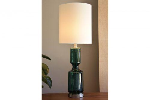 lampara-mesa-vidrio-verde-c-pantalla