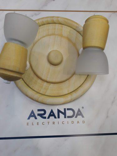 Base redonda focos y cristal madera 700:2 amarillo Irvalamp E14