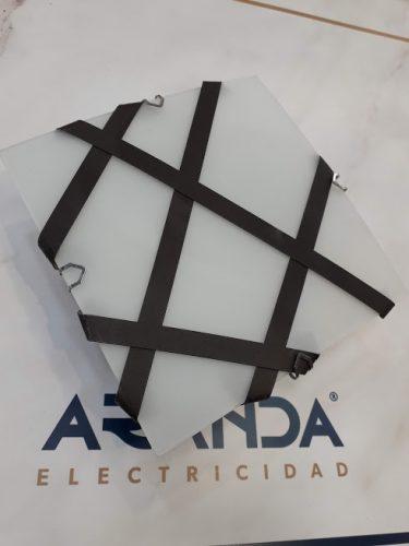 Mini plafon cudadrado blanco y forja marron 15cm g9