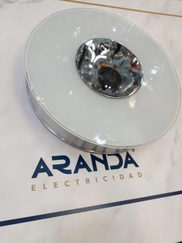 Plafón aluminio con cristal y cromo Center Ap1 Ideal lux T5 22w