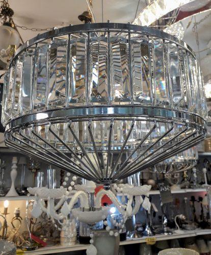Lámpara colgante cristal cromo E27 TEGALUXE