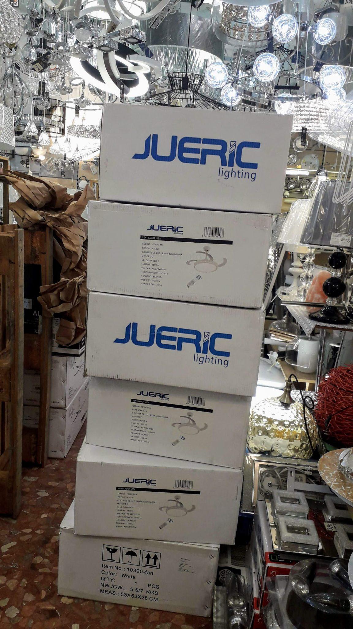 Jueric Invest Aine Ventilador LED Blanco Aspas Retráctiles