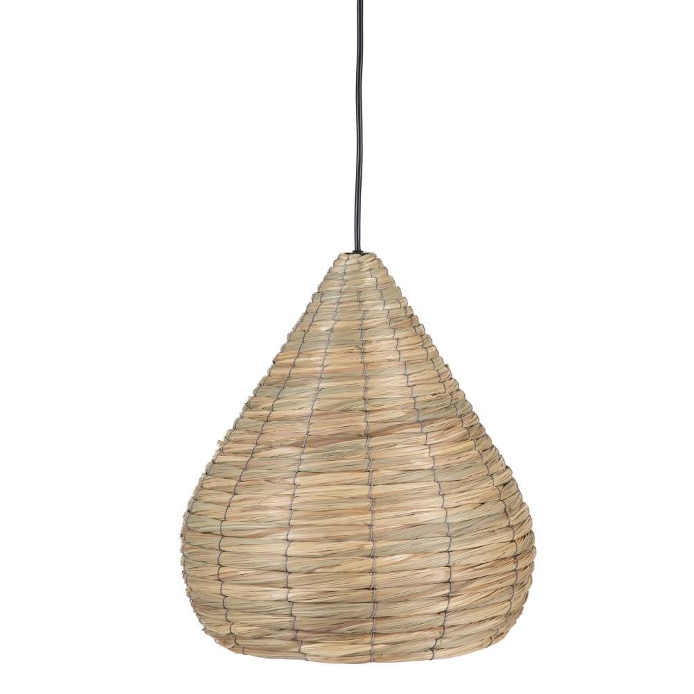 Lámpara pantalla de techo natural fibra 34 cm con cable negro 153566 Ixia