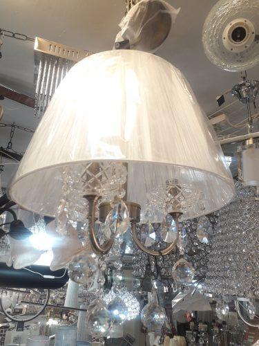 Chandelier cuero con pantalla hilo blanca 3 luces y cristal 12994 TEGALUXE