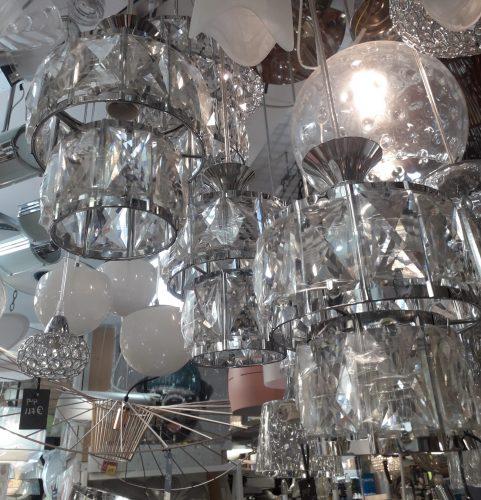 Lámpara base Cromo 539-006 cromo Silvio con 3 colgantes en cristal E14